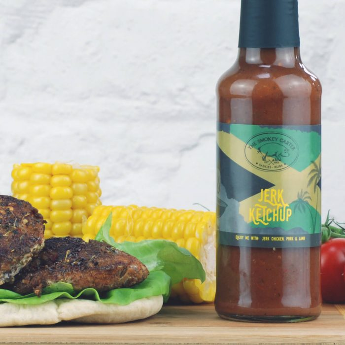 Jerk Ketchup with Jerk Chicken